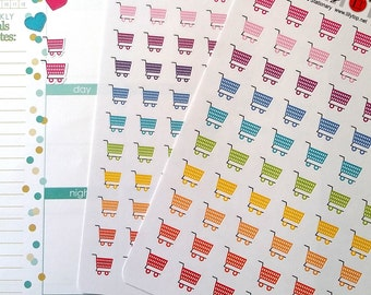 Shopping Cart, big or small, Planner Stickers, Kiss Cut, Calendar Stickers, Life Planner Stickers, Scrapbooking