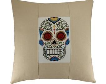 Sugar Skull Cushion Cover, Cream cushion, Decorative cushion, Handprinted cushion,  Mexican Sugar Skull Pillow Cover, 16x16 inches