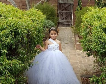 White Flower Girl Tutu Dress, White Tutu Flower Girl Dress