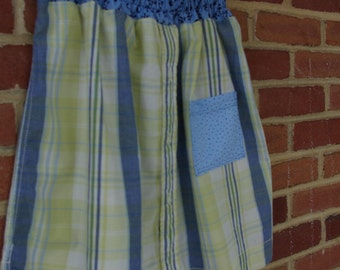 Upcycled Green & Blue Plaid Skirt, Girls size 12
