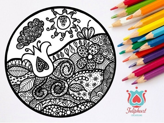 Adult Colouring Page, Zentangle Magical Garden of Unity, Colour, Color Therapy, Tulip & Heart, Digital Print, Home Wall decor, Mandala style
