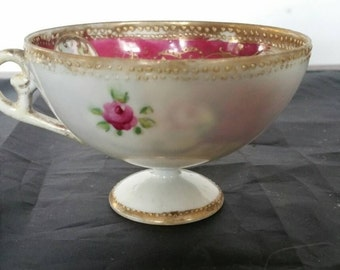Antique Footed Handpainted Tea Cup Roses And Gilt