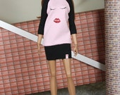 "Fashion Doll Sweater-Dress ""Sleeping Cutie"" black/pink"