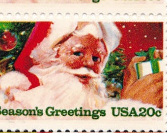 Qty of 10 Santa Claus .20 cent 1983 vintage Christmas postage stamps. These stamps are in excellent, unused, unhinged condition.