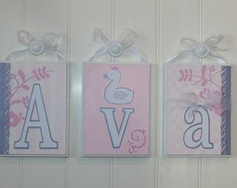 Swan Lake Nursery Decor Baby Pink Girl Room Name Blocks, Hanging Letters Pink Baby Name Blocks Baby Girl Baby Gift Room Decor Nursery