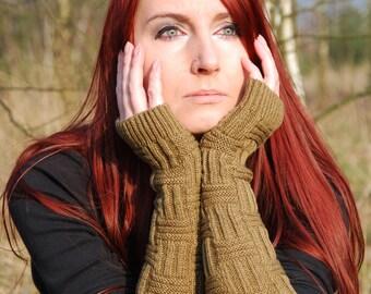Very Long Arm Warmrs Knit Fingerless Gloves Khaki Warm Mittens Sleeves Arm Cuffs Yoga Ski Woodland Hand Warmers Wrist Warmers Winter