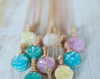 Wedding Party Gift Ideas/ Handcrafted Gifts by Bare and Me/ Druzy Necklace Bridal Gifts/ Pastel Personalized Druzy Necklace/ Gifts Under 50