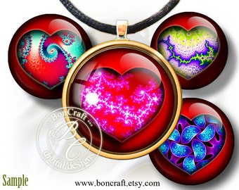 """Great Fractal Hearts for Him and Her - Digital bottle cap images - 1'' circles, 25mm, 30mm, 1.25"""", 1.5"""" for Jewelry Making, BUY 2 GET 1 FREE"""
