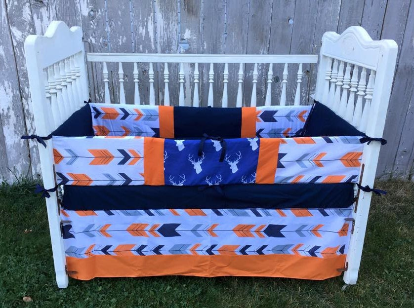 Deer & Arrow Baby Bedding/Navy And Orange By SewSweetBabyDesigns