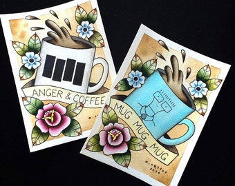 LIMITED TIME Bundle Offer! Black Flag and Descendents Coffee Tattoo Flash PRINTS by Michelle Coffee