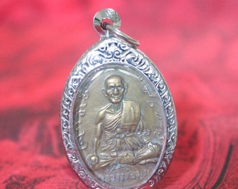 Thai Buddha Amulet LP Mum Monk Old Bronze Charm Pendant