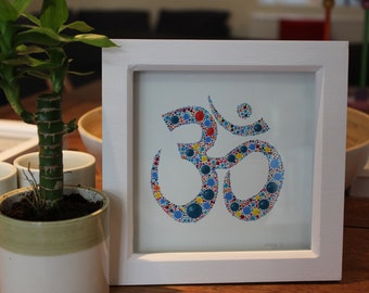 OM - Multicoloured - Dotty - Hand Painted Artwork -Framed ready to hang - By Dizzy's Dots