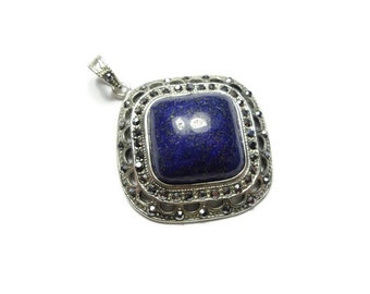 Block Lazuli Gemstone in Arch-Work Silver Plated Pendant -  GS042