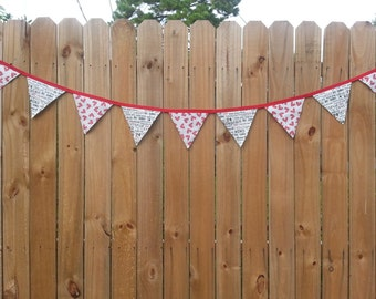 "Valentine Bunting, Wedding Pennant Banner, Romantic Garland, Photo Prop, Bridal Shower, Cake/Candy Table, Moda ""First Crush"" Fabrics"