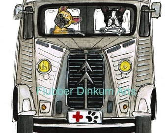 Dog Rescue.  Citroen H with French Bulldogs.    Greetings card / Art print