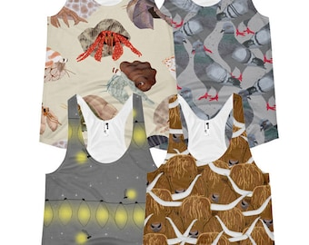 Slim Fit Racerback Tank with Hermit Crabs, Cows, Pigeons or Fireflies