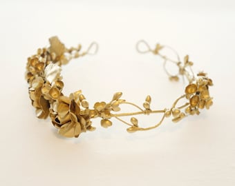 Gold flower crown, Golden floral circlet, Bridal headpiece, Grecian wedding crown, Bridal crown, Woodland, Gold wedding, Wedding Hair