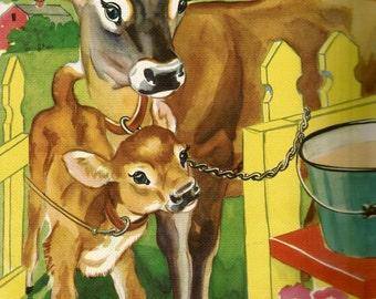 Vintage children's book illustration cow calf digital download printable instant image