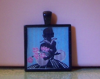 Handmade bezel pendant necklace keychain Art Deco lady woman silhouette