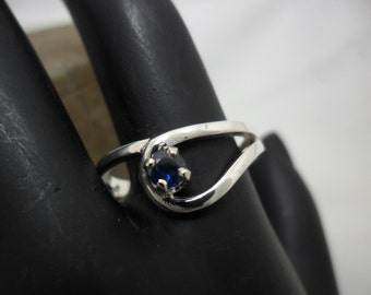 Sterling silver ring set with a natural Sapphire
