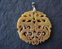 Dragon and Pearl Design Serpentine Jade Pendant