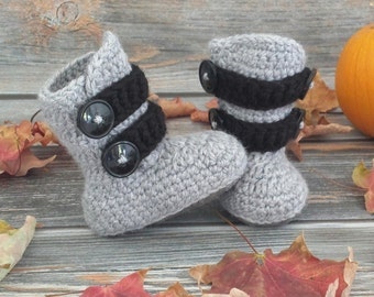 Size 1 Crochet Baby Boots - Infant Boy Boots- Baby Boy Boots - Newborn Boots - Winter Boots - Baby Shower Gift - Baby Boy Booties