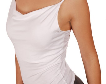 Soft comfy cowl neck, drape neck, tango top, greek neck top, tune top, dance top, Thin strap, Stretch sleeveless Top