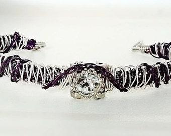 Purple and Silver Double Weaved Wire Bracelet