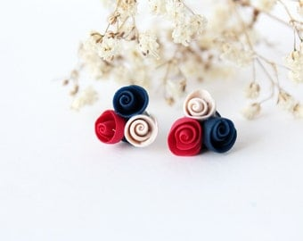 Navy blue stud earrings, red rose studs, cobalt blue, red and blue, polymer clay, Minimalist tiny, royal blue, flower earrings, colorful