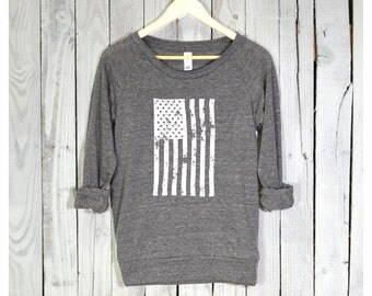 American Flag Shirt. America Shirt. America Pullover. Raglan Sleeves. Alternative Apparel