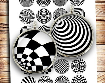 Op art 10mm 12mm 14mm 16mm 18mm Optical Illusion Pop Art Printable images  Digital Collage Sheet - Instant Download