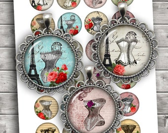 French Corset Digital Collage Sheet 35mm 1.25 inch 30mm 1 inch 1.5 inch Printable Download - Instant Download
