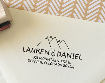 Return Address Stamp, Hand Drawn Stamp, Personalized Address Stamp, Wedding Stamp, Mountain Address Stamp, Wedding Gift Style No. 134