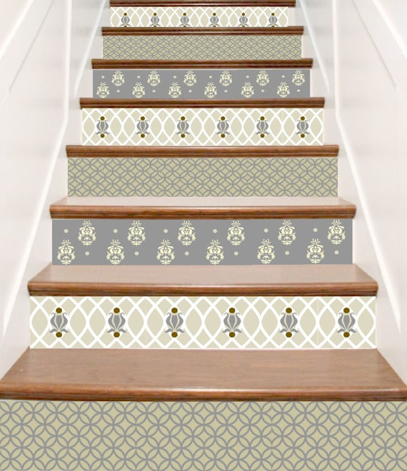 Carved Wood Stair Risers Stair Ideas Stamped Leather: Items Similar To Printed Vinyl Decals For Stair Risers
