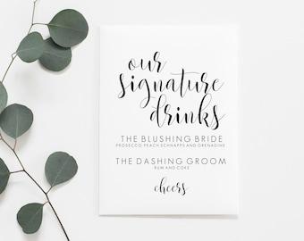 Signature Drink Sign Printable. Signature Cocktail Sign. Wedding Drink Sign. Wedding Drink Menu. Wedding Bar Menu. Wedding Bar Sign.