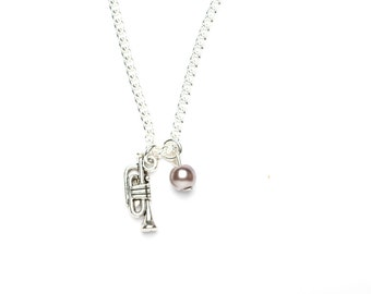 Trumpet Necklace   Trumpet Charm Necklace   Musical Instrument Necklace   Musician's Gift Idea