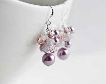 Lilac Bridesmaid Earrings - Light Purple Earrings, Silver Plated Hooks, Cluster Earrings, Purple Dangle Earrings, Purple Bridesmaid Jewelry