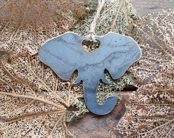 Elephant Head Love Rustic Metal Recycled Steel Heart Christmas Tree Ornament Holiday Gift Industrial Decor Wedding Favor By BE Creations