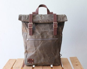 Waxed Canvas Backpack Roll top with brown leather details, Waxed Canvas Rucksack Roll top, olive green