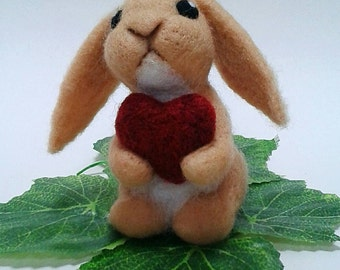 Valentines Bunny Gift. Needle Felted Bunny Rabbit with Red Love Heart. Free Worldwide Shipppng.