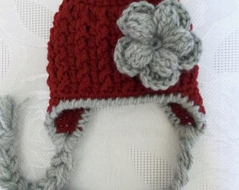 Baby earflap hat Newborn girl hat Red newborn hat Newborn winter hat Baby girl hat Crochet newborn hat Newborn earflap hat