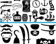 Pirates Monogram Black - Cutting Files Svg Png Jpg Eps Dxf Digital Graphic Design Instant Download Commercial Use (00879c)