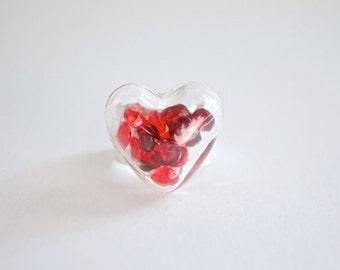 Glass Heart Ring With Clear Acrylic Gems - Glass Terrarium Ring