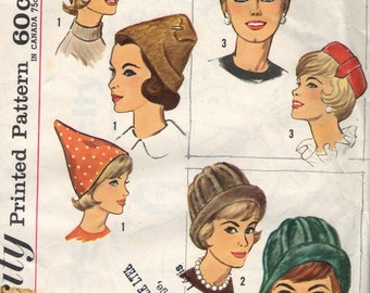Vintage 1950s Simplicity Sewing Pattern 4677- Misses' Set of Hats in one size