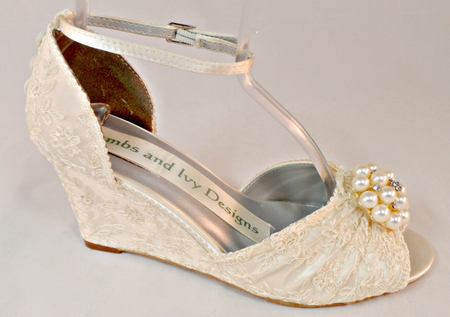 Wedge Heel Shoes For Wedding: Ivory Lace Wedge Wedding Heels Ivory Lace By AJuneBride On