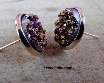 Druzy Drusy Rosegold Pink Fake Plugs Stud Earrings  Moon  Faux Plugs FP 079