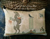Harvest Hares Pinkeep ~ Cross Stitch Pattern/Chart from Scattered Seed Samplers© 2014 by Designer Tammy Black