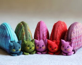 100 Cat coin purses, Coin purse zipper 5 colors.