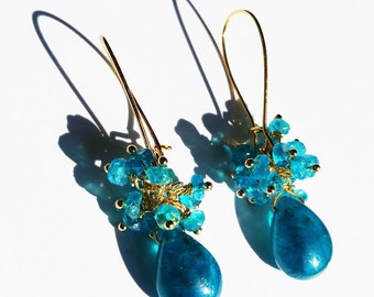 Apatites on Gold filled earrings or Vermeil