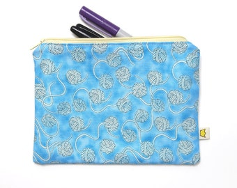 Knitting notions pouch, yarn balls zipper pouch, blue pencil case